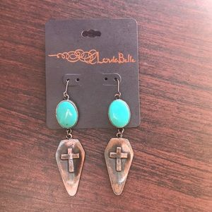Loulabelle turquoise cross dangle earrings